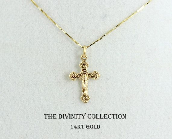 SOLID 14KT GOLD Crucifix Cross Necklace Women Girls Small Charm .