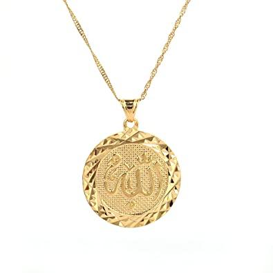 Amazon.com: Allah Gold Pendant Necklace Link Chain Middle East .
