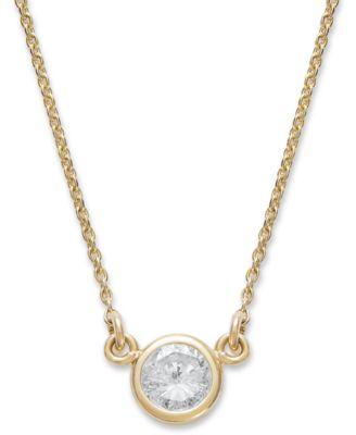 Macy's Bezel-Set Diamond Pendant Necklace (1/5 ct. t.w.) in 14K .