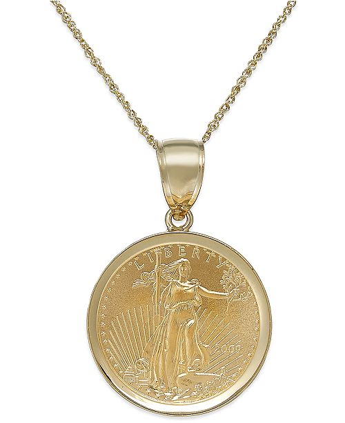 Macy's Genuine Eagle Coin Pendant Necklace in 22k and 14k Gold .