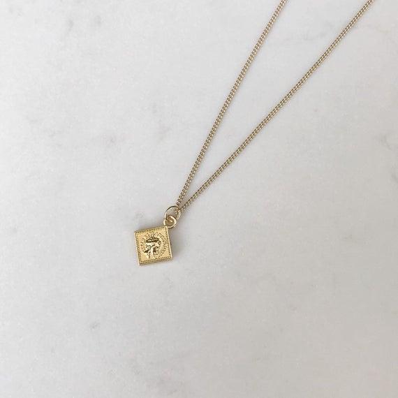 14k gold pendant necklace square pendant coin necklace | Et