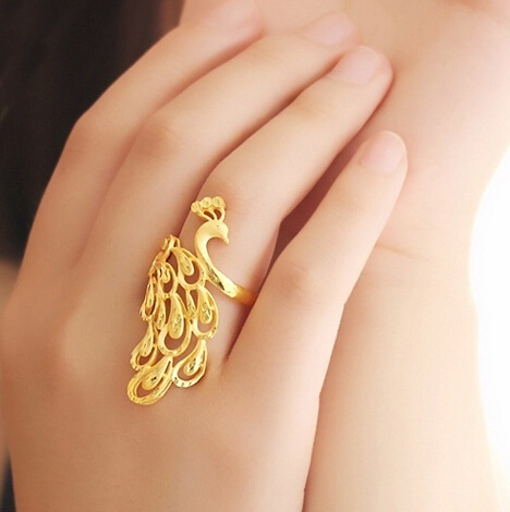 18K Gold Peacock Rings For Women (Size: 3.5 Cm, Color: Gold) on Luul