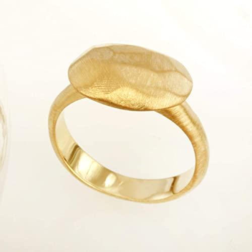 Amazon.com: Women's Brushed gold Ring, Boho 14K Gold Ring, Yellow .