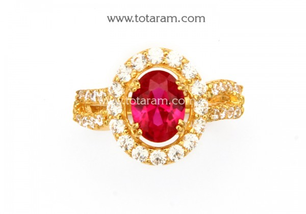 22K Gold Ring For Women With Cz & Red Stone - 235-GR5536 in 5.700 .