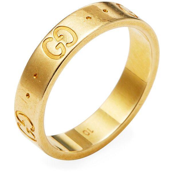 Gucci Women's Vintage Gucci 18K Yellow Gold Logo Thin Band Ring .