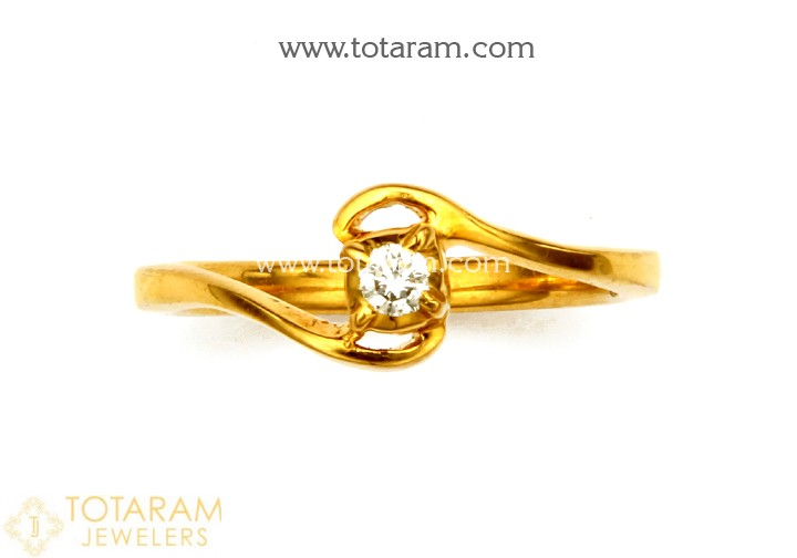 22K Gold Diamond Ring for Women (Close Setting) - 235-DR929 in .