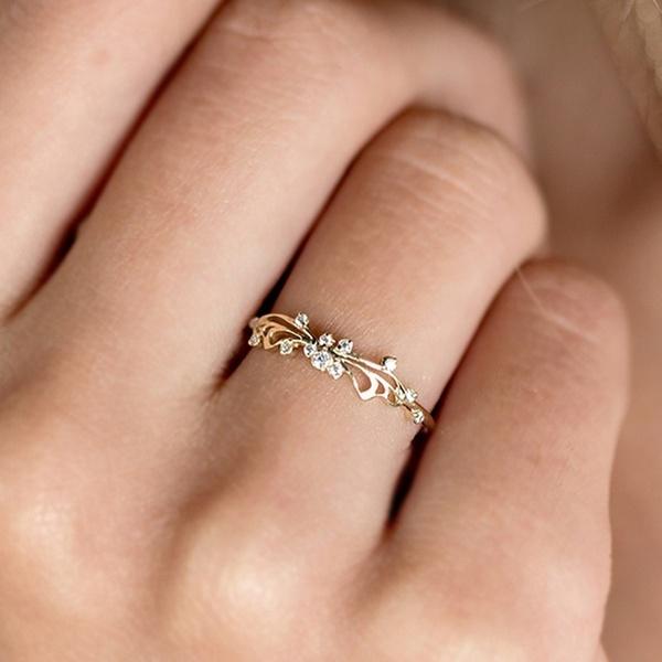 1 Piece Gold Ring Women Elegant Exquisite Diamond Ring Wedding .
