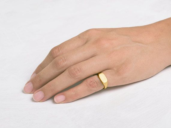 Pinky Signet Ring ⦁ Rectangle Solid 14K 18k Yellow Gold band .