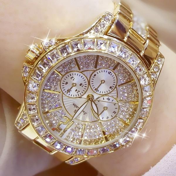 Rhinestone Diamond Silver and Gold Watch Women's | Wi