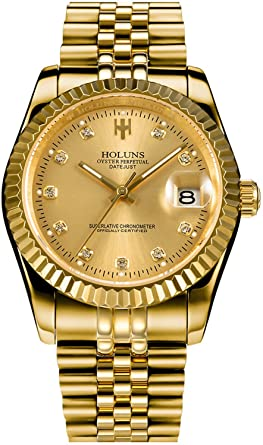 Amazon.com: Mens Full Gold Watch Automatic Mechanical Gilded Steel .