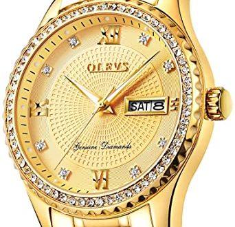 Amazon.com: Men's Gold Watch Luxury Diamond with Day Date Calendar .