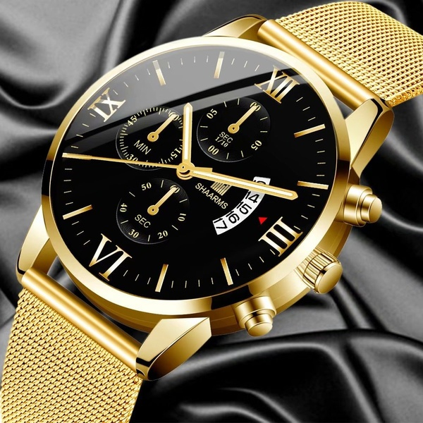 2020 Men Watch Fashion Faux Chronograph Military Sport Mens .