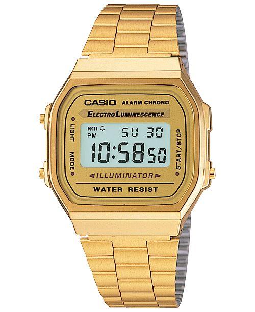 Casio Men's Digital Vintage Gold-Tone Stainless Steel Bracelet .