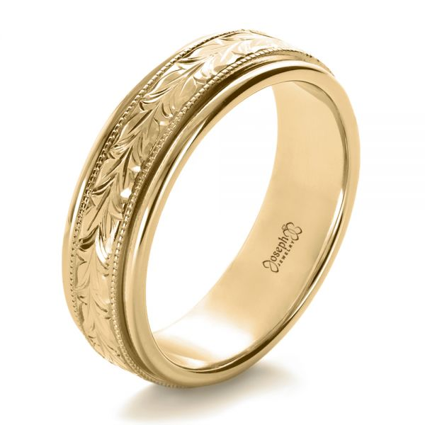 14k Yellow Gold Custom Hand Engraved Wedding Band #1213 - Seattle .