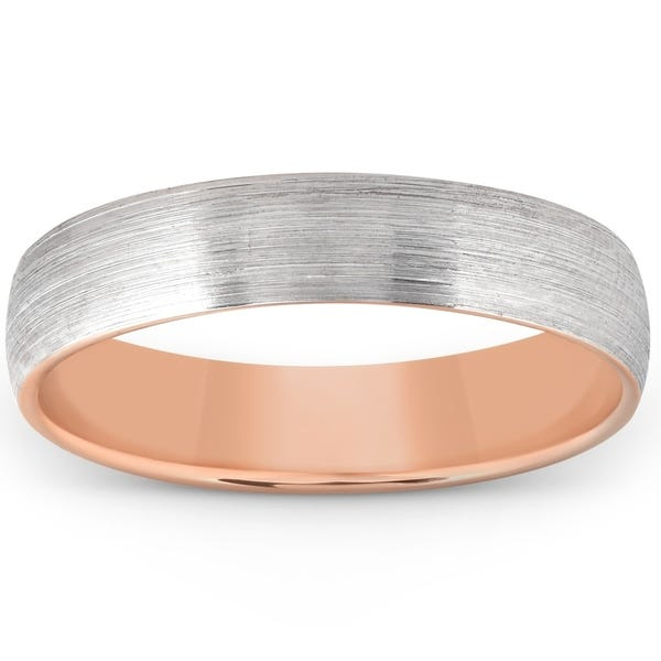 Shop Pompeii3 10k Rose Gold Brushed Two Tone Mens Wedding Band .