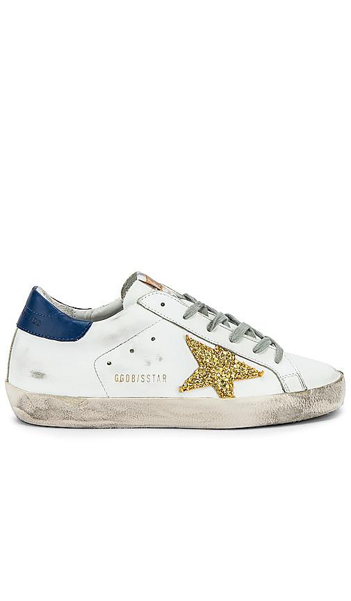 Golden Goose Superstar Sneaker in White, Navy & Gold Glitter | REVOL