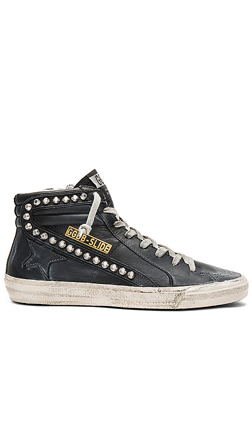 Golden Goose Slide Sneaker in Black Leather Studs | REVOL