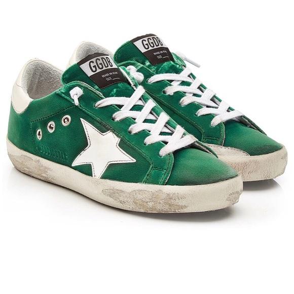 Golden Goose Shoes | Superstar Green Velvet Sneakers | Poshma