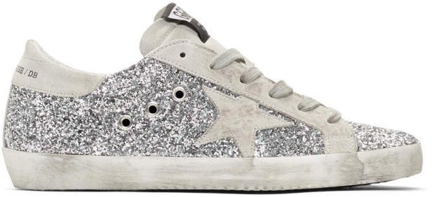 Golden Goose SSENSE Exclusive Silver All-Over Glitter Superstar .