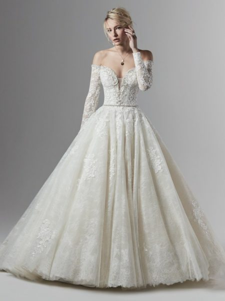 Off The Shoulder Lace Ball Gown Wedding Dress | Kleinfeld Brid