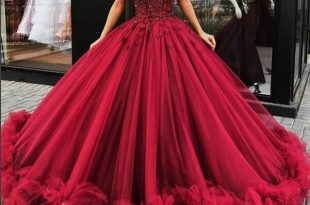 Gorgeous burgundy round neck long prom dress, burgundy ball gown .