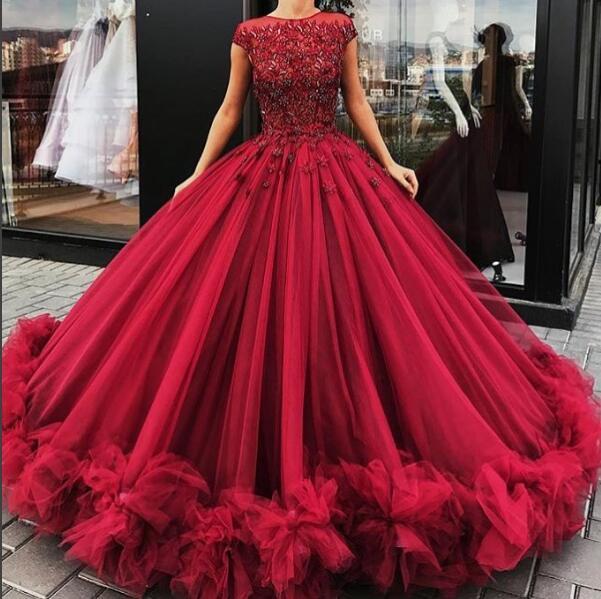 Gorgeous burgundy round neck long prom dress, burgundy ball gown .
