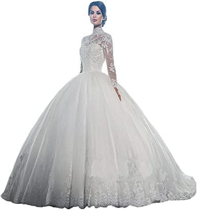 Yuxin High Neck Long Sleeves Wedding Dress Lace Ball Gown Wedding .