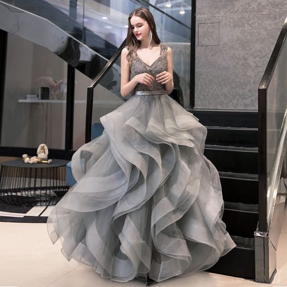 Luxury / Gorgeous Grey Prom Dresses 2020 Ball Gown V-Neck .