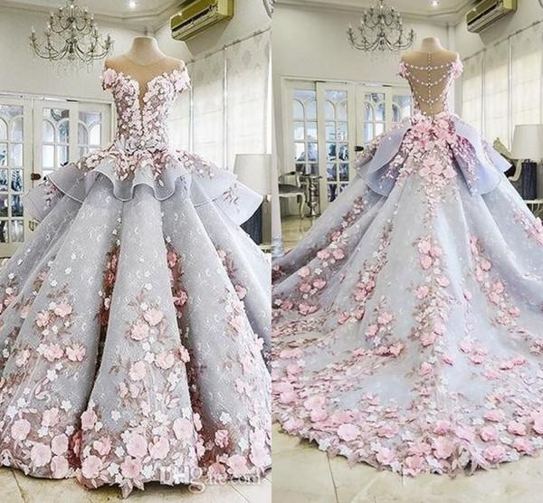 2018 luxury quinceanera ball gown dresses 3d floral lace applique .
