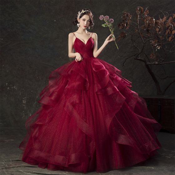 Charming Quinceañera Burgundy Prom Dresses 2019 Ball Gown .