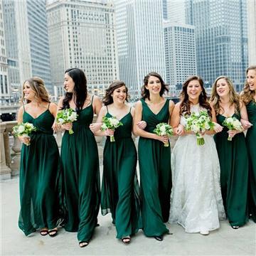 Mismatched Emerald Green Chiffon Cheap Bridesmaid Dresses Online .