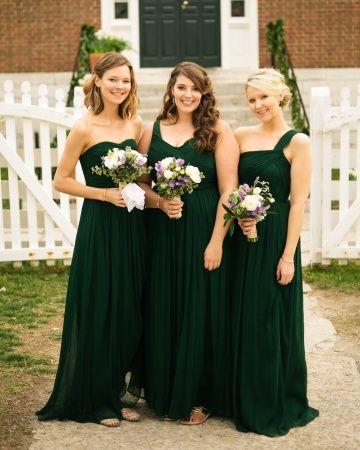 Bridesmaids from Real Weddings | Green bridesmaid dresses, Emerald .