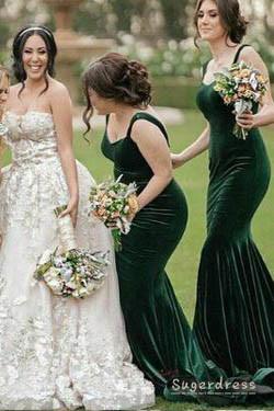 Straps Mermaid Velvet Dark Green Bridesmaid Dress · Sugerdress .