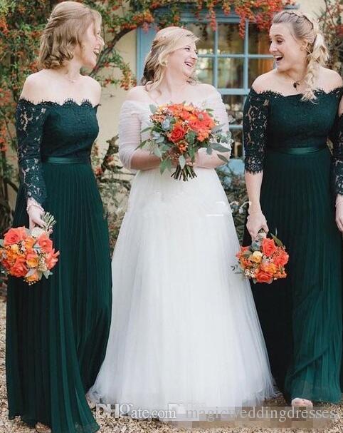 2019 Hunter Green Bridesmaid Dresses Off Shoulder Long Sleeve Lace .