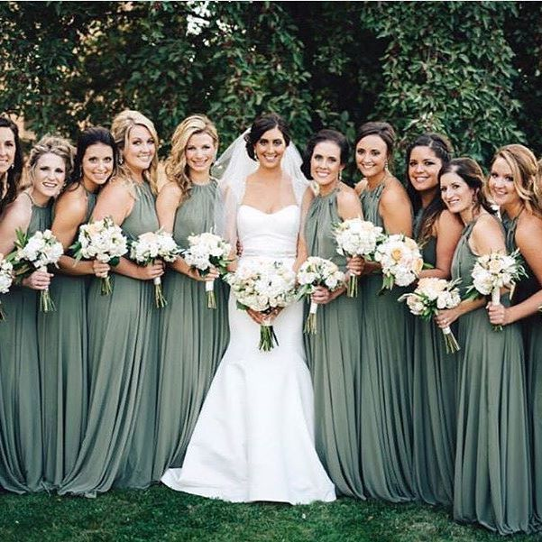 Image result for bridesmaid dresses earthy green | Green .
