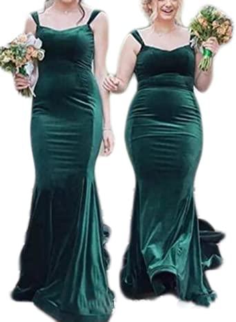 Veilace Women's Hunter Green Velvet Mermaid Bridesmaid Dress Long .