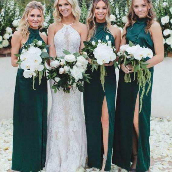 Sheath High Neck Floor-Length Dark Green Bridesmaid Dress with .