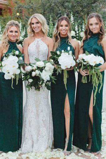 Buy Simple Sheath High Neck Dark Green Bridesmaid Dress with Split .
