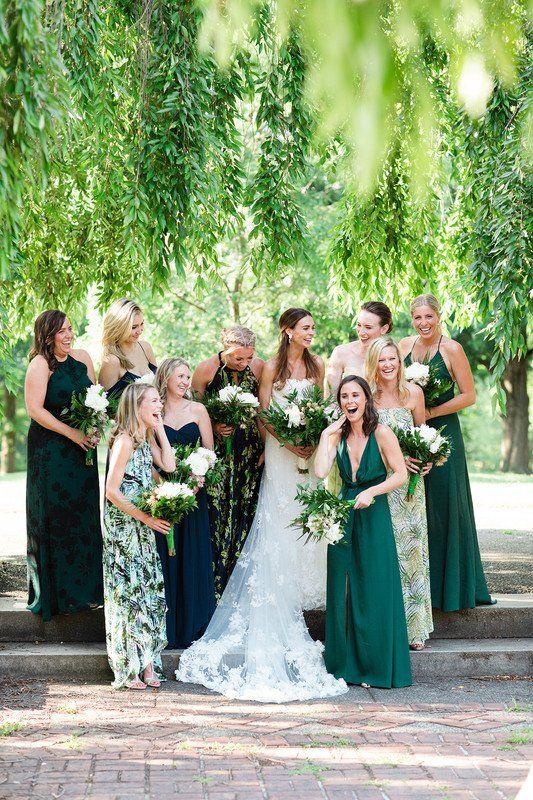 Mix-and-match bridesmaid dresses - green bridesmaid dresses .
