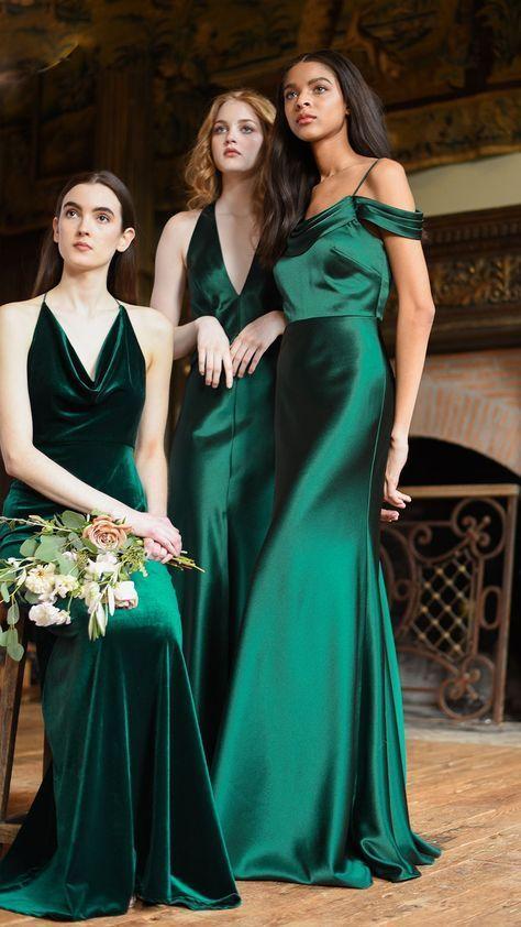 Bridesmaid Dresses in Emerald Green | Emerald green bridesmaid .