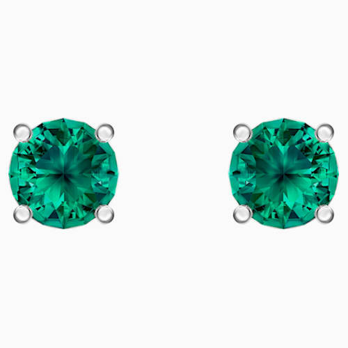 Attract Stud Pierced Earrings, Green, Rhodium plated | Swarovski.c