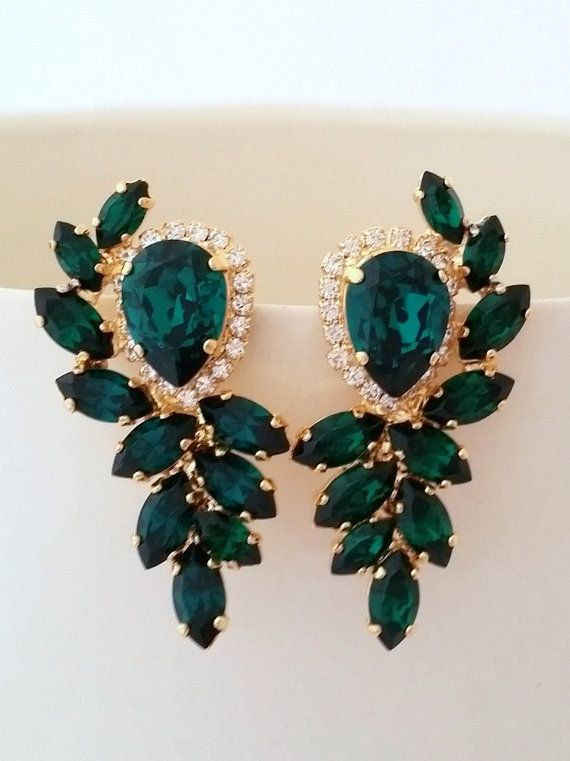 Emerald earrings,bridal earrings, Emerald bridal earrings,Vintage .
