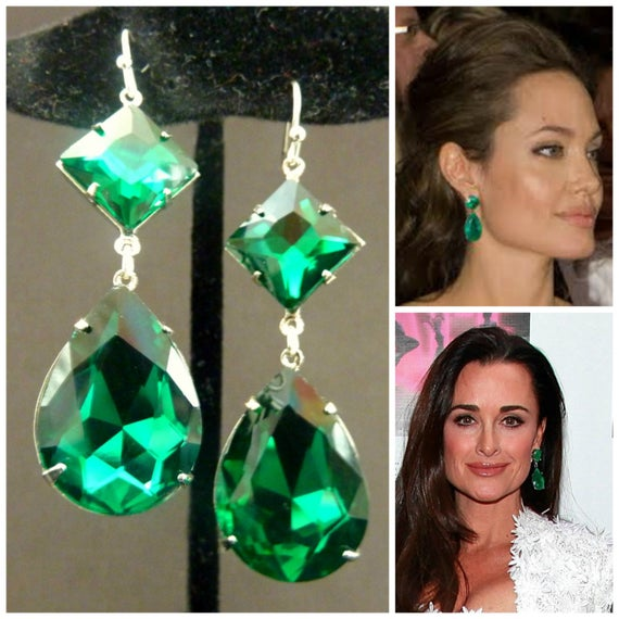 Emerald Earrings Angelina Jolie Kyle Richards LARGE Emerald | Et