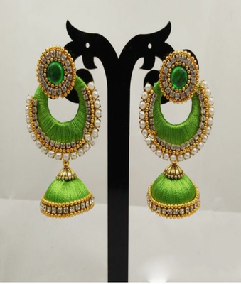 Green earrings - Maruti Creations - 28237