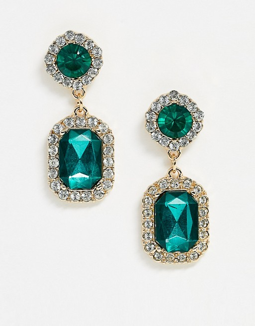 ASOS DESIGN earrings with green double jewel drop in gold tone | AS