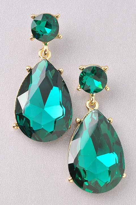 Angelina Jolie Green Emerald Gold Earrin