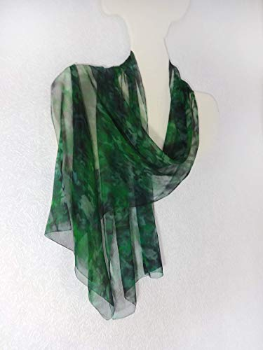 Amazon.com: Silk Scarf Green Hand Painted Handmade Long Sheer .