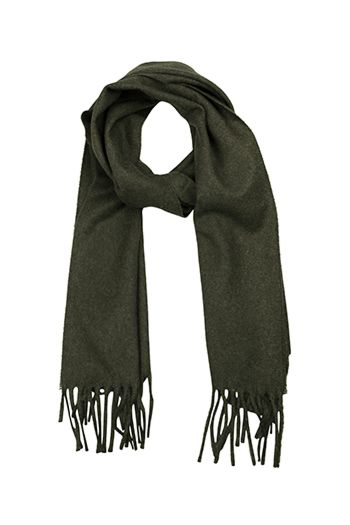 Men's Scarf - Warm lambswool in dark olive green & long frin