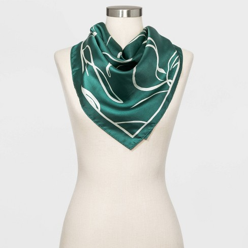 Women's Large Square Floral Print Silk Scarf - A New Day™ Green .