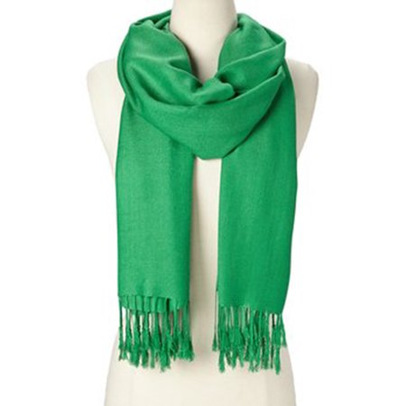 Oussum - Green Solid Scarfs for Women Fashion Warm Neck Womens .